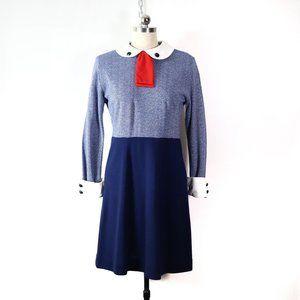 vintage 70s peter pan collar shirt dress M mod